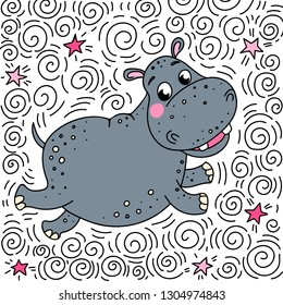 Cheerful smiling hippo bounces up. Doodle illustration on a background of spirals, lines and stars. Can be used for postcards, posters and prints on clothes.