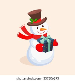 Cheerful Snowman holding a Present. Holiday Vector Illustration