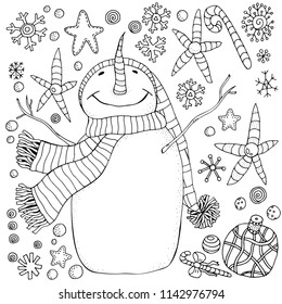 Cheerful snowman and snowflakes. Winter, snow, sled, carrot. Merry Christmas, Happy New Year. Pattern for adult coloring book. Black and white.