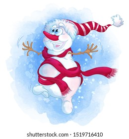 A cheerful snowman in a striped hat and a red scarf is dancing. Cartoon winter character. Watercolor texture and background.