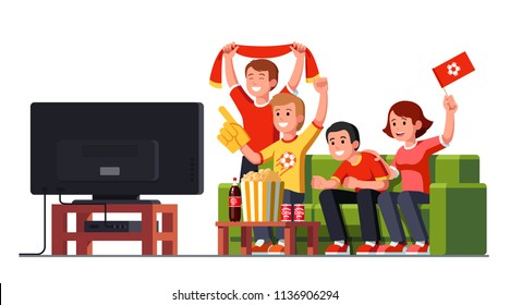 Cheerful soccer game fans friends watching match together sitting on home couch. Football sport fans watching soccer match on TV. Flat vector clipart illustration isolated on white background