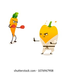 Cheerful sport vegetable, fruits characters set. Carrot boxing in box gloves, papper in kimono karate punch. Funny cute healthy organic food full of vitamin. Cartoon Vector illustration