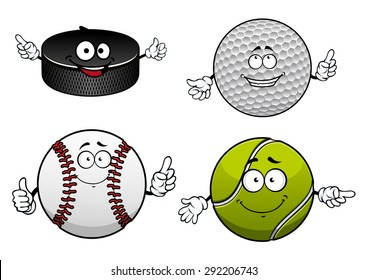 Cheerful sporting balls and puck cartoon characters with items of ice hockey, golf, tennis and baseball for sports team or club mascot design
