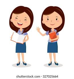 Cheerful teacher with book. lesson. Presentation.