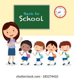 Cheerful teacher and school kids. Vector illustration of a cheerful teacher with school kids.