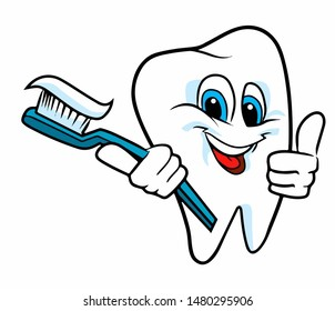 Cheerful tooth with toothpaste and a toothbrush in the hands. Vector illustration