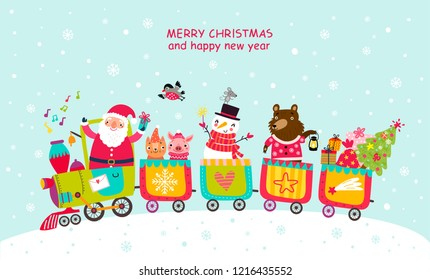Cheerful train Christmas card with Santa and animals