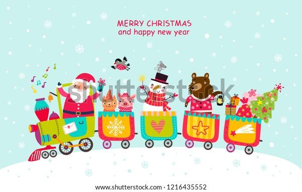Cheerful train Christmas card with Santa and animals