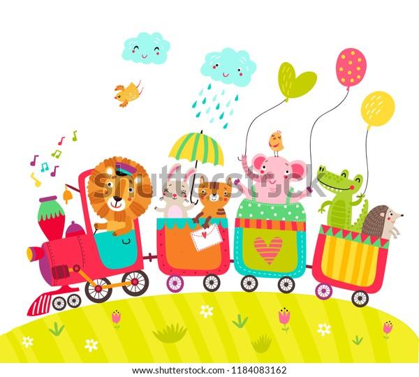 Cheerful train with cute animals