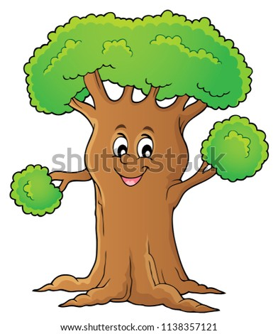 Cheerful tree theme image 1 - eps10 vector illustration.