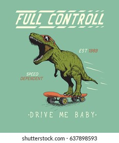Cheerful tyrannosaur rides on skateboard.Dinosaur skateboarder dressed in sunglasses.Prints vintage design for t-shirts