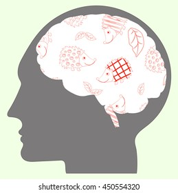 Cheerful vector illustration about hedgehogs in human brains