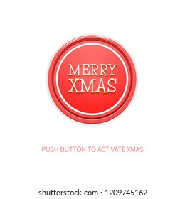 Cheerful Vector Minimalist Background for Christmas. Vector Illustration of Red Round Button with Title Merry Xmas and Caption. Festive Vector Wallpaper.