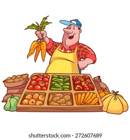 Cheerful vegetable seller at the counter with a carrot in his hands. Vector illustration on a white background