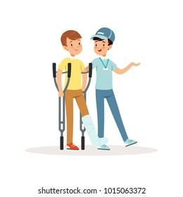 Cheerful volunteer helping boy with crutches. Leg in plaster. Social help. Activist in blue cap, t-shirt and jeans. Cartoon teenagers character. Flat vector design