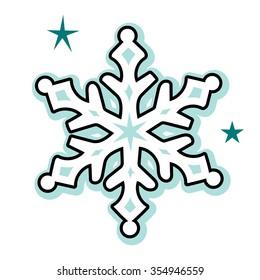 Cheerful winter snowflake illustration vector art