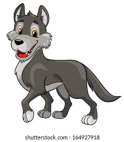 cheerful wolf on a white background, vector illustration