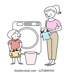 Cheerful woman and little boy doing laundry. Mother and son washing clothes. Housewife doing laundry with cute little helper. Little son helping his mom loading clothes into the washer.