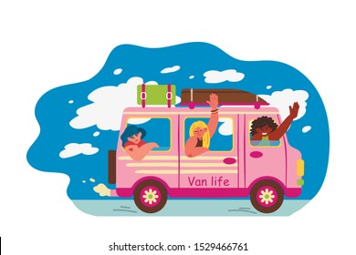 Cheerful women travel by car. Three young girls going on vacation. Van life movement. Vector illustration in freehand drawn style.