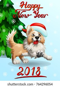 The cheerful yellow puppy of a Border Collie wish red cap and letteing Happy New Year 2018 and fir-tree. A cartoon vector illustration on blue and snowflakes.