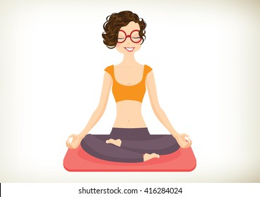 Cheerful Yoga Girl in lotus position. Vector, illustration
