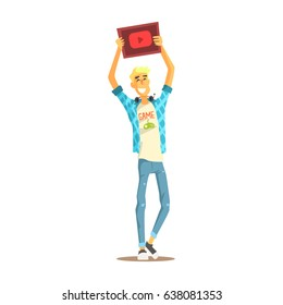 Cheerful young bloger man standing with a tablet in his raised hands, colorful character vector Illustration