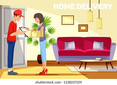 Cheerful young delivery man giving a cardboard box to young woman while standing at the entrance of her apartment. Fast and reliable service. Vector illustration