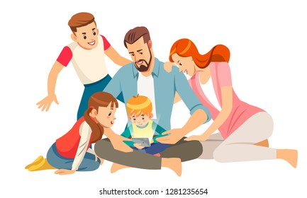 Cheerful young family with kids laughing watching funny video on smartphone sitting together, parents with children enjoying playing games or entertaining using mobile apps on phone at home.