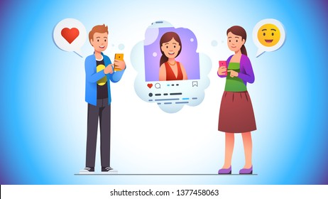 Cheerful young man giving like love heart to social network photo post of smiling woman on his phone app. Woman responds with smile emoticon. Communication concept. Flat vector character illustration
