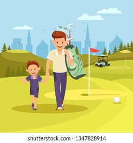 Cheerful Young Man Holding Hands with Son Going to Play Golf at Green Course in Summer Sunny Day. Handsome Father Sharing Experience with Cute Little Offspring. Sport. Cartoon Flat Vector Illustration