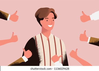 Cheerful young man surrounded by hands demonstrating thumbs up gesture. Concept of public approval, positive opinion, respect, recognition, honor and appreciation. Flat cartoon vector illustration
