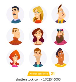 Cheerful young people avatar collection. User faces. Trendy modern style. Flat Cartoon Character design.
