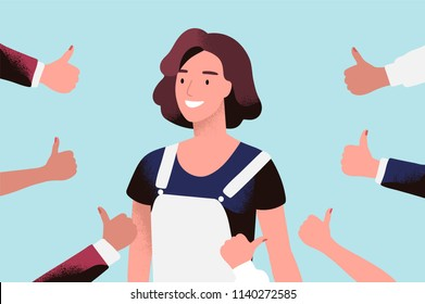 Cheerful young woman surrounded by hands with thumbs up. Concept of public approval, acknowledgment by audience, positive opinion, recognition. Colored vector illustration in flat cartoon style
