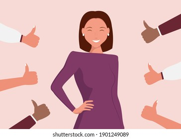 Cheerful young woman is surrounded by hands with thumbs up. The concept of public approval, audience recognition, positive opinion, recognition.