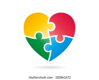 Cheerfully colorful heart shaped puzzle vector graphic template illustration isolated on white background
