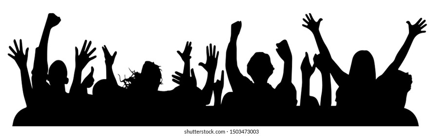 Cheering applause crowd people party, disco, concert, silhouette. Sports fans. Happy people. Isolated background element. Object emblem