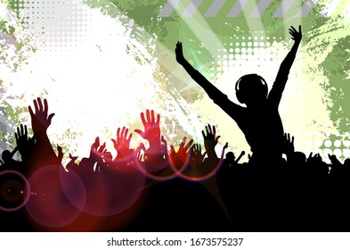 Cheering crowd at the concert - vector illustration