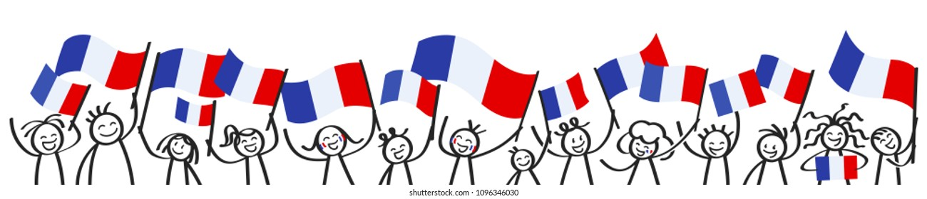 Cheering crowd of happy stick figures with French national flags, France supporters smiling and waving tricolor flags isolated on white background