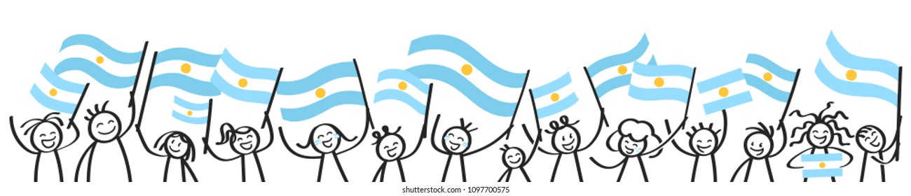 Cheering crowd of happy stick figures with Argentinian national flags, smiling Argentina supporters, sports fans isolated on white background