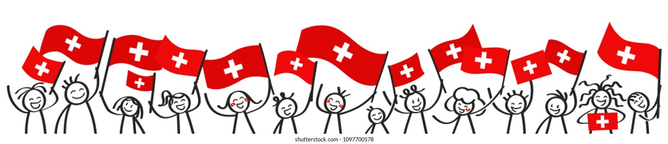 Cheering crowd of happy stick figures with Swiss national flags, smiling Switzerland supporters, sports fans isolated on white background