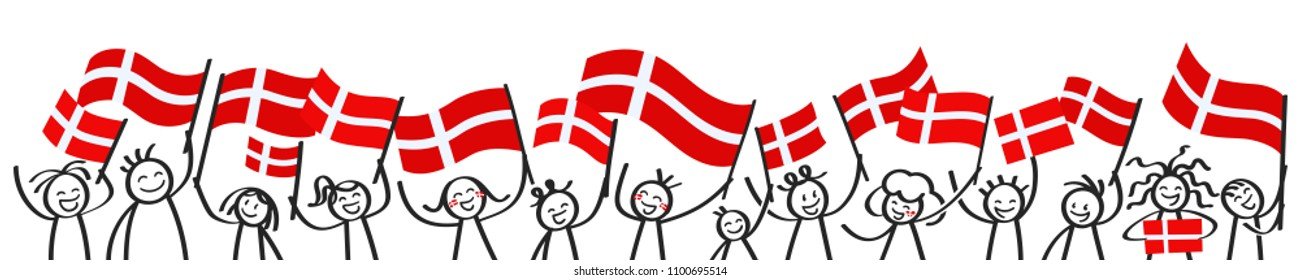 Cheering crowd of happy stick figures with Danish national flags, smiling Denmark supporters, sports fans isolated on white background