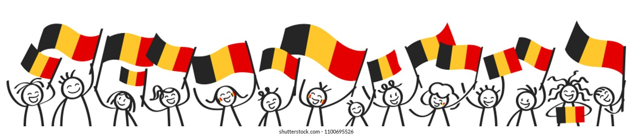 Cheering crowd of happy stick figures with Belgian national flags, smiling Belgium supporters, sports fans isolated on white background