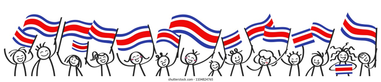 Cheering crowd of happy stick figures with Costa Rican national flags, smiling Costa Rica supporters, sports fans isolated on white background
