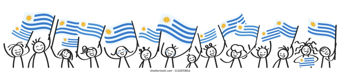 Cheering crowd of happy stick figures with Uruguayan national flags, smiling Uruguay supporters, sports fans isolated on white background