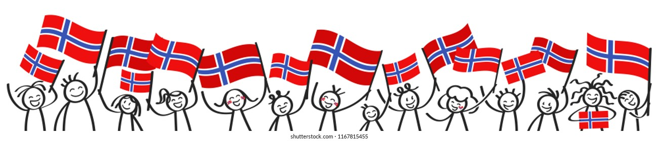 Cheering crowd of happy stick figures with Norwegian national flags, smiling Norway supporters, sports fans isolated on white background