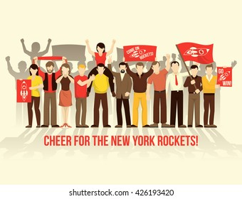 Cheering crowd people retro style composition with men women scarf flags placards on clear backdround vector illustration