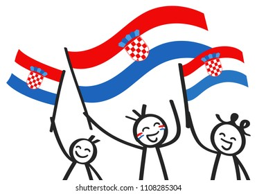 Cheering group of three happy stick figures with Croatian national flags, smiling Croatia supporters, sports fans isolated on white background