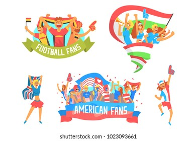 Cheering Happy Crowds Of National Sport Team Fans And Devotees With Banners And Attributes Supporting