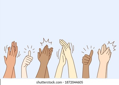 Cheering, ovation, applauding concept. Hands of various people male or female showing thumbs up, applauding, supporting somebody or cheering by gesture vector illustration