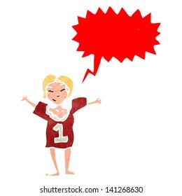 cheering woman in sports top retro cartoon